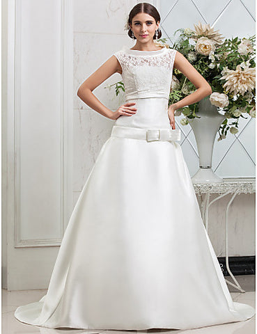 A-line Jewel Court Train Satin Wedding Dress (467038)