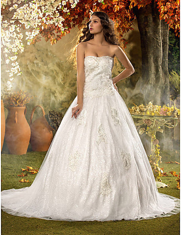 A-line Sweetheart Court Train Tulle And Lace Wedding Dress (604652)