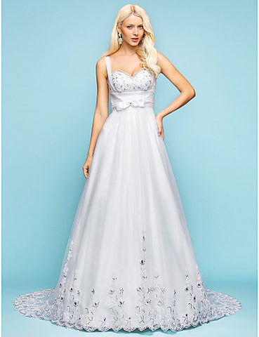 A-line Sweetheart Court Train Tulle Wedding Dress With Removable belt