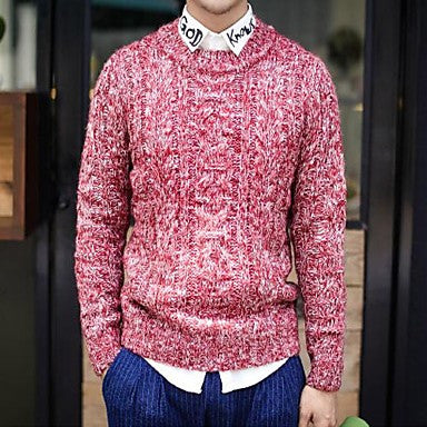 Men's Winter, thick needle snowflake wave sweater all-match wool sweater.