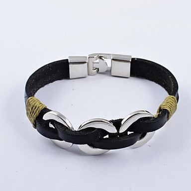 Fashion Men's Stainless Steel Ring PU Leather Bracelets