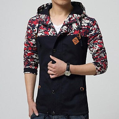 Men's The Trend Of Splicing Hooded Jacket