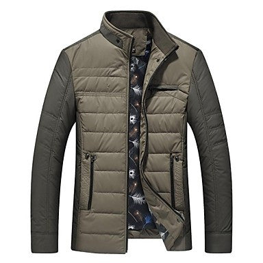 Men's Jacket Pure Lined Polyester Long Sleeve Outerwear