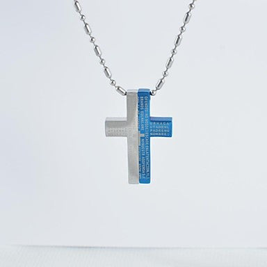 Classic Titanium Steel Jigsaw Cross Pendant Necklace