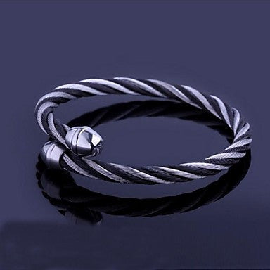 Men's Fashion Personality Titanium Steel Openging Black Silk Bracelets