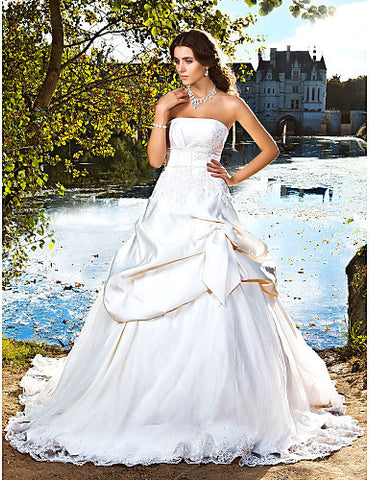 Wedding Dress Ball Gown Chapel Train Satin Strapless With Bow and Beading Appliques