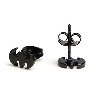 Fashion New Black Bat Stainless Steel Stud Earrings