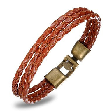 European Style Multilayers Genuine Leather Men's Bracelet