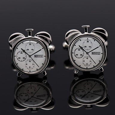 Men's Formal Business Groom Suits Shirt Clock Style Cufflinks for Christmas Gift