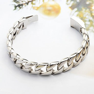 Fashion and Simple Men's Silver 316L Stainless Steel Chain Cable Bracelet
