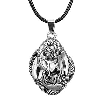 European Classic (Snake And Skull) Black Leather Pendant Necklace(Bronze,White) (1 Pc)