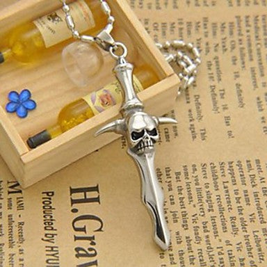 Men¡¯s Fashion Personality Titanium Steel Skull Cross Shape Pendant Necklaces