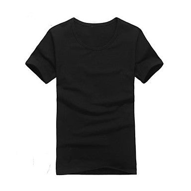 Men's A Round Collar Pure Color T-Shirt with Short Sleeves