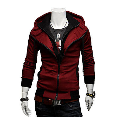 Men's Contrast Color Hoodie Thin Coat
