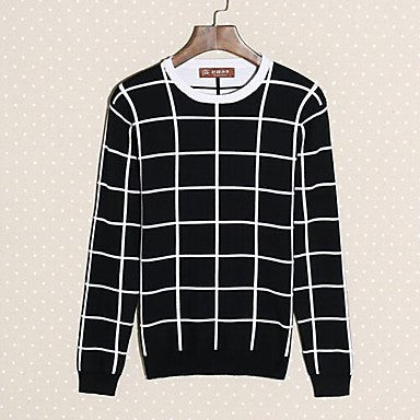 Men's Fresh Large Lattice Korean Cultivating Crewneck Sweater