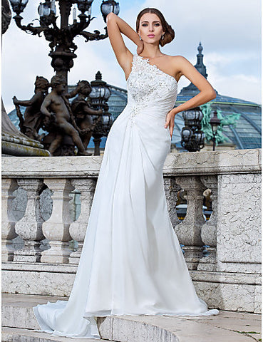Wedding Dress Sheath Column Sweep Brush Train Chiffon One Shoulder With Beading Appliques