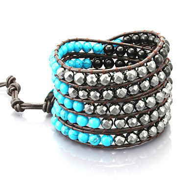 Vintage Style Friendship Weaving Leather Wrap Bracelet With Gemstone (CLJ-B-316)