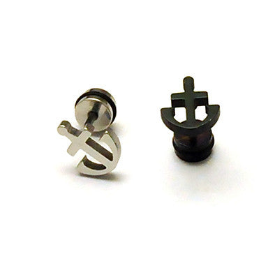 European (Geometric Shape) Multicolor Titanium Steel Stud Earrings(Silver,Black) (1 Pc)
