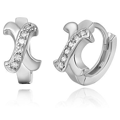 "Gifr for Boyfriend High Quality Silver Plated Letter ""X"" Men's Stud Earrings(1 pr)"