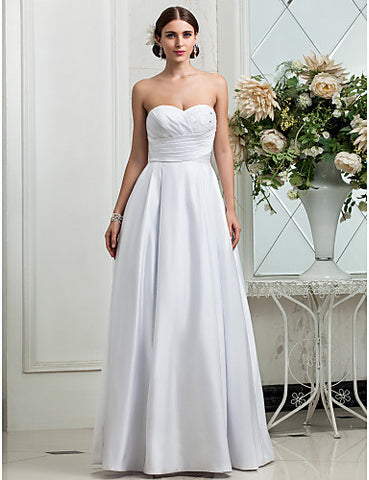 A-line Princess Sweetheart Floor-length Criss Cross Satin Wedding Dress