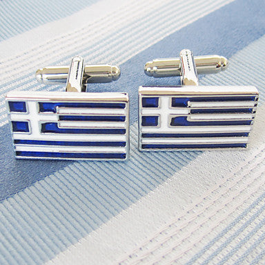 Men's Silver Alloy Square Cufflinks
