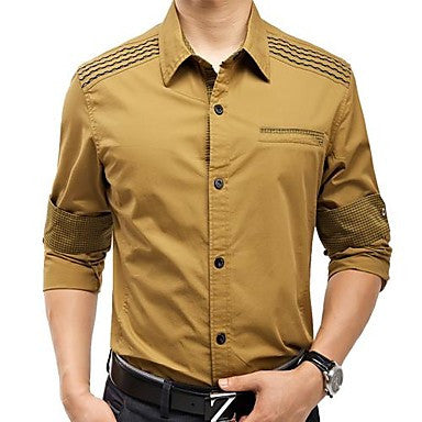 Cotton Khaki Men Long Sleeve Shirt