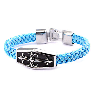 Punk Style Cross Coffin Blue Leather Bracelet(1 Pc)