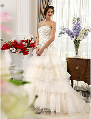 Fit and Flare Strapless Sweep/Brush Train Satin And Organza Wedding Dress
