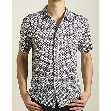 Men's 100% Cotton Floral Casual Short Sleeve Shirt