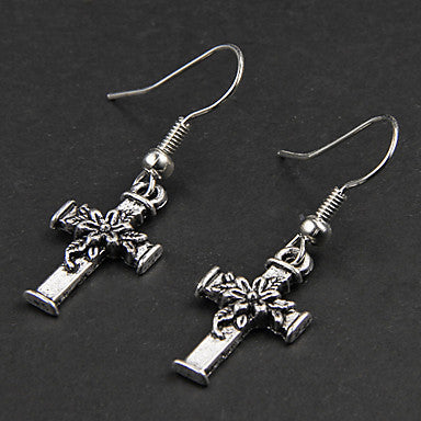 Punk Flower Cross Silver Alloy Earrings(1 Pair)