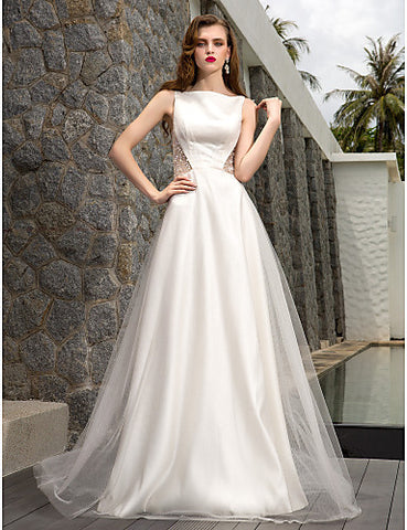 A-line Bateau Sweep/Brush Train Tulle Wedding Dress (871016)