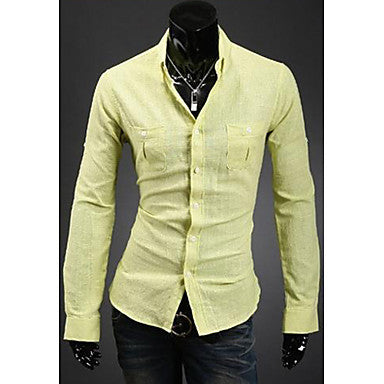 Men's Double Pocket Solid Color Shirts