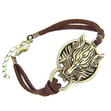 European Wolf Head 20cm Unisex Brown Leather Leather Bracelet(1 Pc)