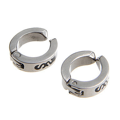Classic 9mm Three S Stainless Steel Silver Clip Earring(1 Pair)