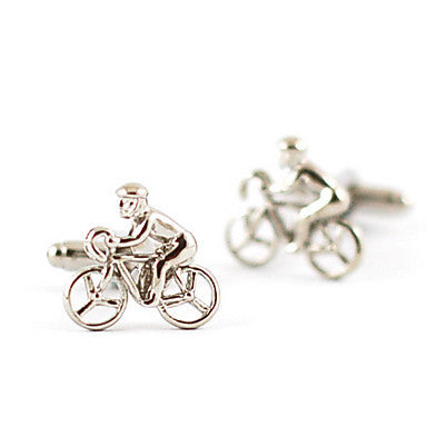 Luxurious French Bicyclist Men's Silver Alloy Silver Plated Cufflinks (1 Pair)