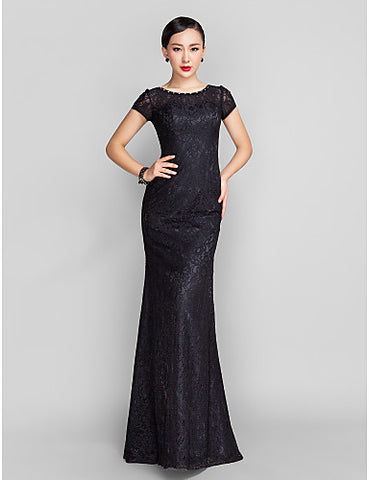 Trumpet/Mermaid Scoop Sweep/Brush Train Lace Evening Dress