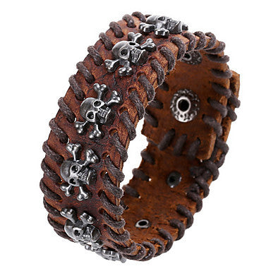 European Skull 20cm Men's Black,Brown Leather Leather Bracelet(Black,Brown)(1 Pc)