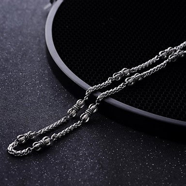 Men's Fashionable Titanium Steel Crown Necklace (Length 22 Inch / Silver)