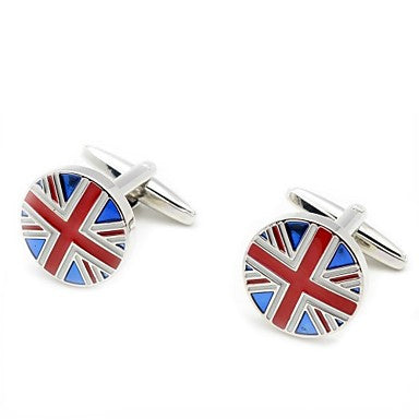 Men's Wedding Gift Party Suits Shirt Groom Round UK Flag Copper Cufflinks