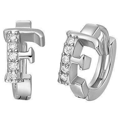 "Gifr for Boyfriend High Quality Silver Plated Letter ""F"" Men's Stud Earrings(1 pr)"