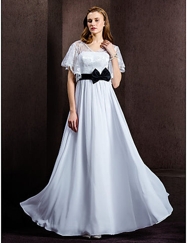 A-line V-neck Floor-length Chiffon And Lace Wedding Dress
