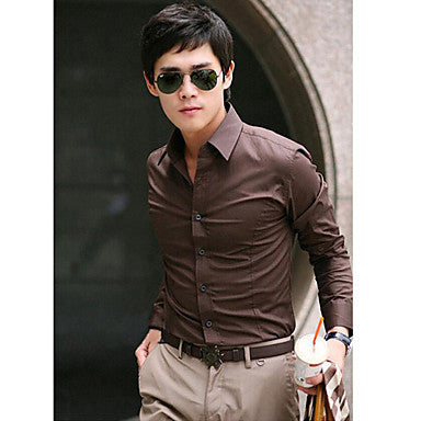 Men's Fitted Shirt Collar Casual Pure Color Long Sleeve Shirt