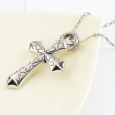 Fashion Men's Patten Cross Shape Sword Titanium Steel Pendant Necklace