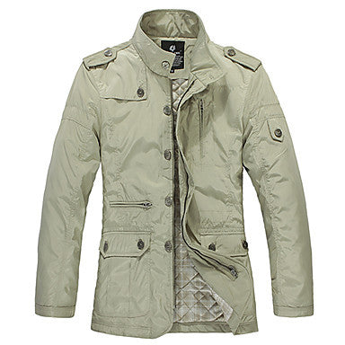 Men's Casual Single Color Medium Style Trench Coat