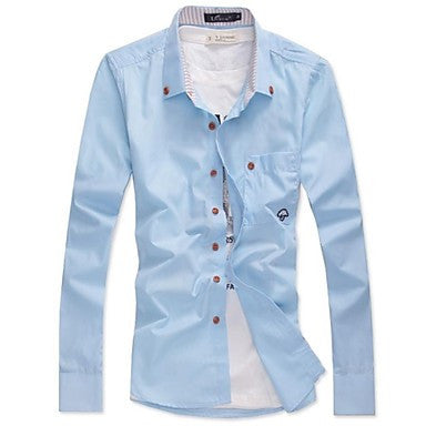 Men's Korean Slim Embroidered Long Sleeved Shirt