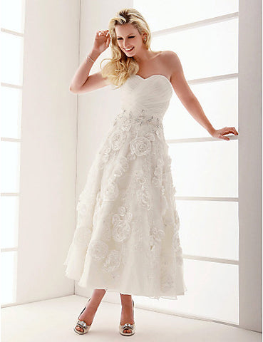 Wedding Dress A Line Ankle Length Organza Sweetheart Strapless With Crystal Detailing and Flower