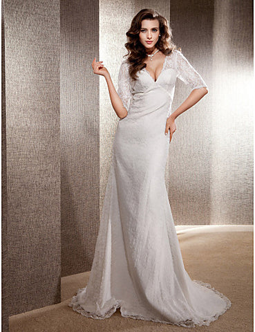 Trumpet/Mermaid V-neck Sweep/Brush Train Lace Wedding Dress