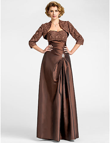 Sheath/Column Sweetheart Floor-length Taffeta And Lace Mother of the Bride Dress With A Wrap