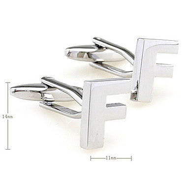 Letter F Pattern Unisex Cufflinks (Small)