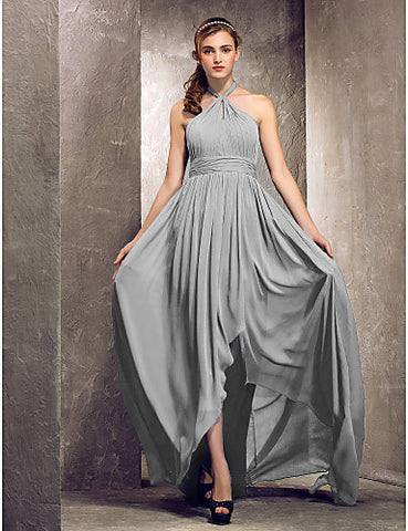 Sheath/Column Halter Asymmetrical Chiffon Bridesmaid Dress